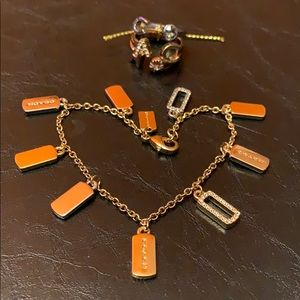NWT COACH Charm Bracelet and Stackable Ring Set
